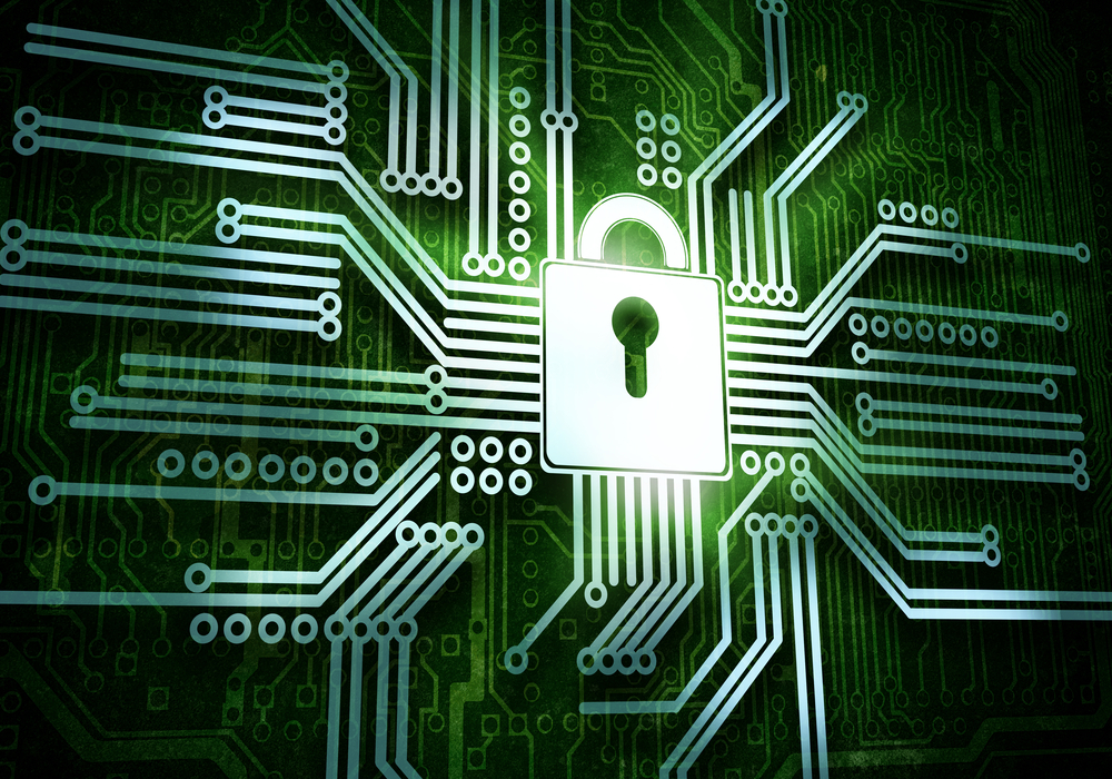 Conceptual image of micro circuit. Security concept-3